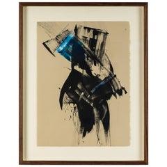 Blue Black Abstract Monoprint by Anna Ullman