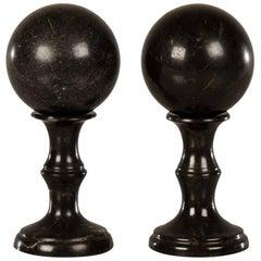 Pair of Antique Italian Black Marble Spheres Atop Baluster Columns, circa 1890
