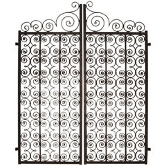 Pair of Scrolled Forged Iron Gates from France, 1800s