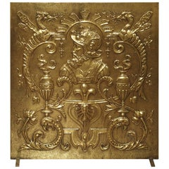 Antique Brass Fireplace Screen from France, circa 1880