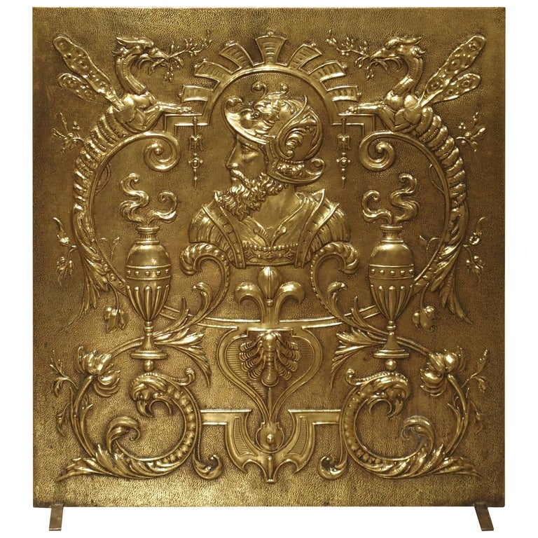 Antique Fireplace Screen >> Antique Brass Fireplace Screen From France Circa 1880 At 1stdibs