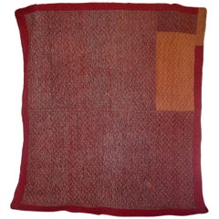 Late 18th Century Antique French Red Print Cotton Quilt