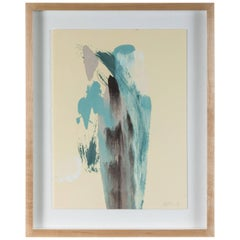 Blue Brown Abstract Monoprint by Anna Ullman