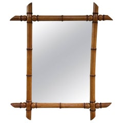 Vintage French Original Bamboo Mirror