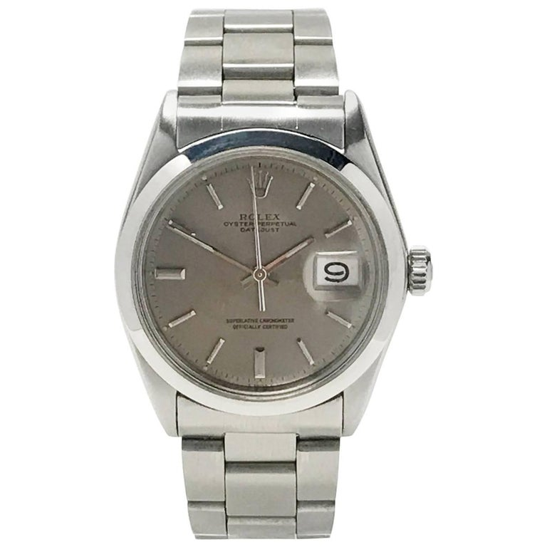 Vintage Men's Rolex Datejust Oyster Wristwatch Stainless Steel and Gray Dial 1