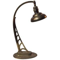 Viennese Art Nouveau Full Brass Table or Desk Lamp, 1910s