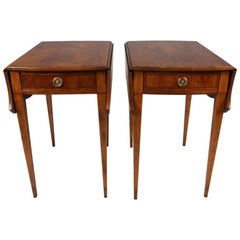 Hepplewhite Style Baker Yewood Ebonized Banded Pembroke End Tables