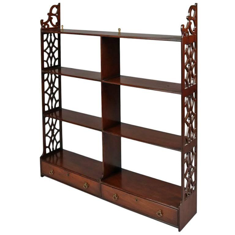 colonial williamsburg restoration mahogany wall shelf with two drawers at 1stdibs. Black Bedroom Furniture Sets. Home Design Ideas