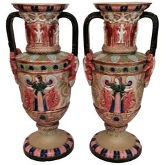 Pair of Egyptian Revival Tall Vases