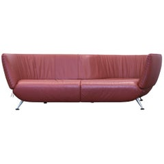 De Sede Ds 102 Designer Sofa Leather Orange Brown Two-seat Couch Modern