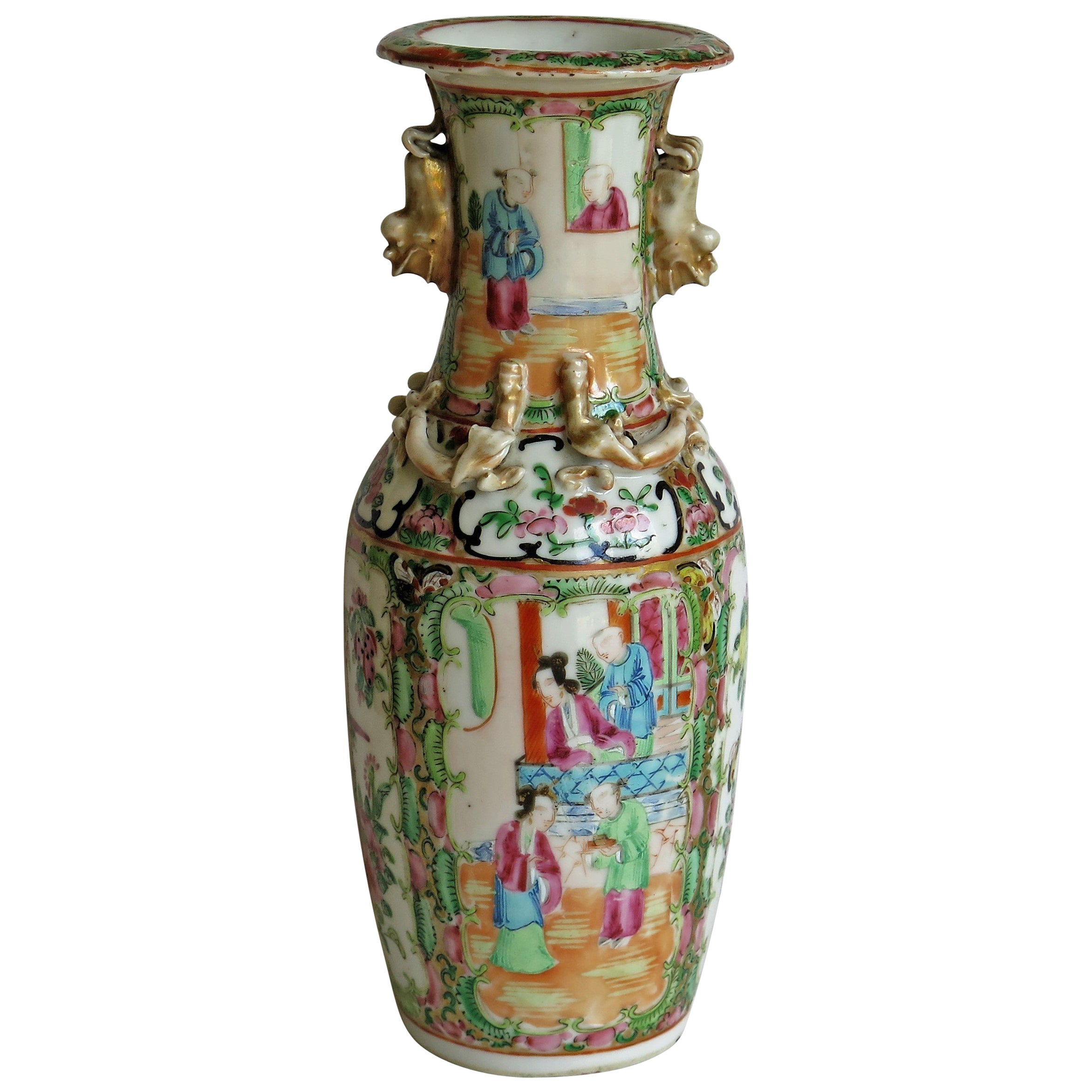 19th C. Chinese Export Rose Medallion Porcelain Vase or Lamp Base, Qing Ca. 1860