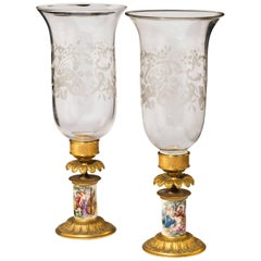 Pair of Late 19th Century Gilt Bronze Porcelain and Glass Storm Lanterns