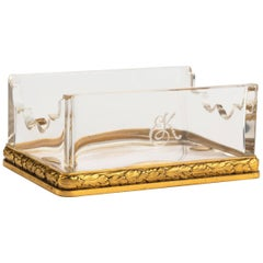 Late 19th Century Gilt Bronze and Glass Shaped Pen Holder