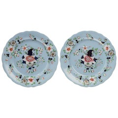 Pair of Mid-19th Century Painted Enameled Gilded Dinner Plates