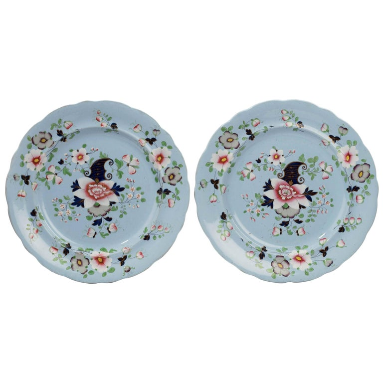 Pair of Mid-19th Century Painted Enameled Gilded Dinner Plates For Sale
