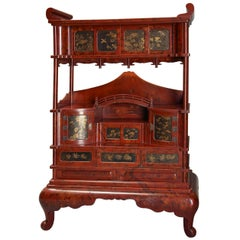 Early 20th Century Japanese Red Lacquered Shodana Cabinet