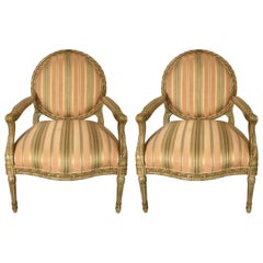 Pair of French Louis XVI Style Round Back Fauteuil Armchairs by Henredon