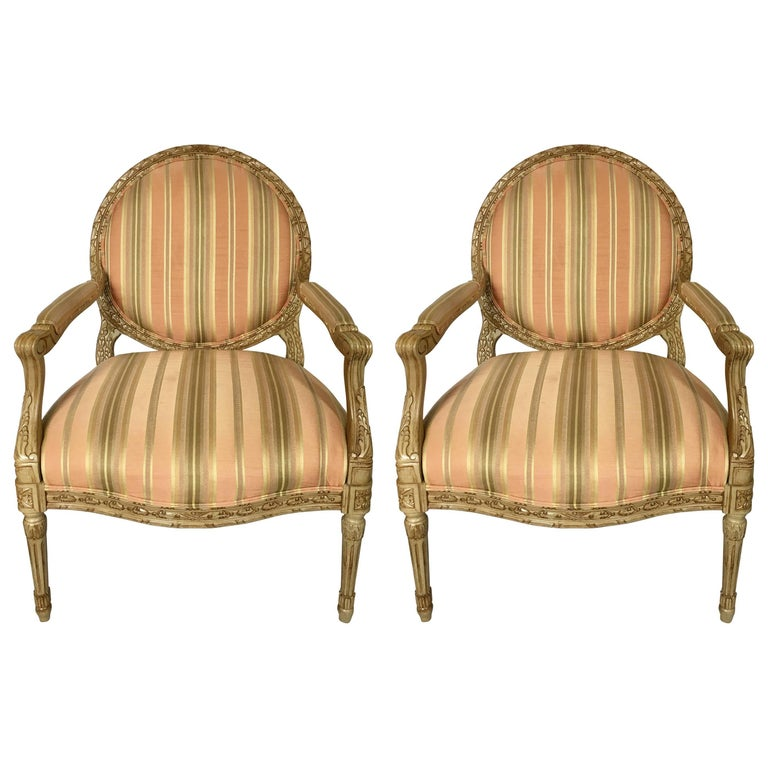 Pair Of French Louis Xvi Style Round Back Fauteuil Armchairs By