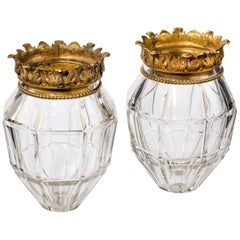 Pair of Early 20th Century Vase Lanterns with Bevelled Edges