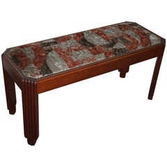 Stunning and Stylish Mahogany Art Deco Fireplace or Hallway Bench / Stool, 1920s