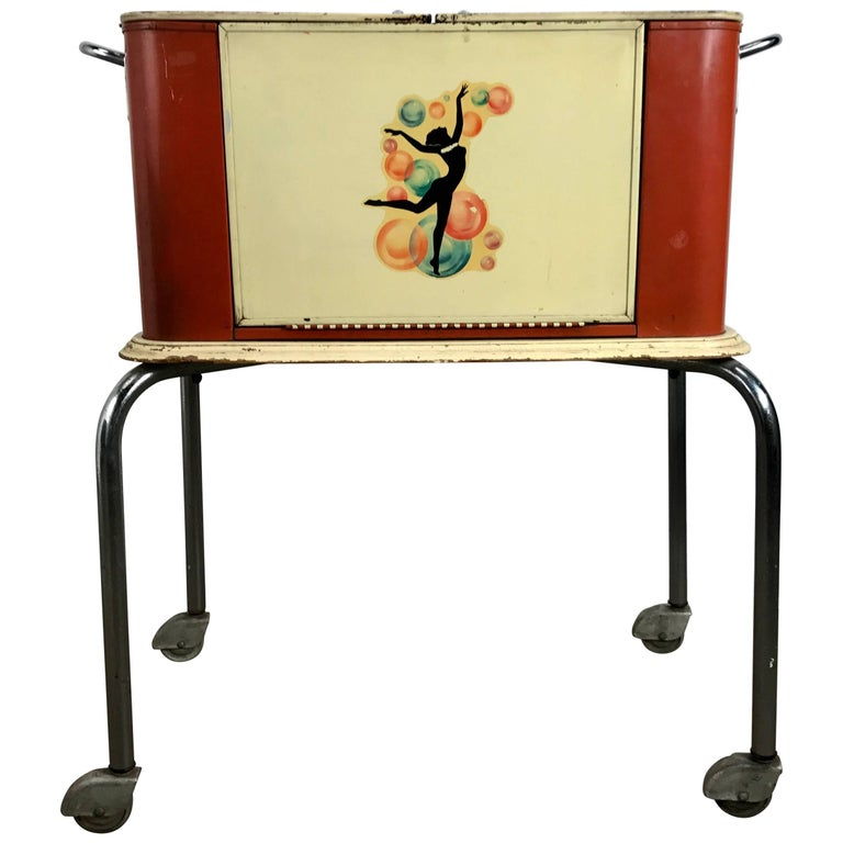 Art Deco Portable Rolling Dry Bar