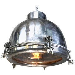 1970s Japanese Vintage Industrial Aluminium Dome Pendant with Steel Fittings
