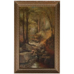 "Antique Hudson River School Oil on Canvas ""Mountain Stream"", Signed 19th Century"