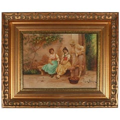 Antique French Oil on Canvas Genre Painting, Signed, 19th Century, Framed