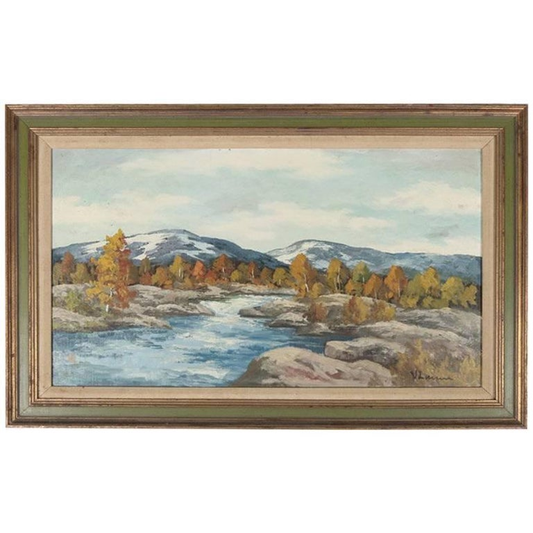 "Oil on Panel Western Mountain Stream Landscape ""Fall into Winter"" 20th Century"