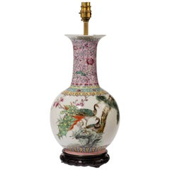 Mid-20th Century Famille Verte Vase Lamp