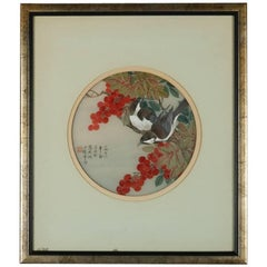 Antique Chinese Meiji Style Painting of Birds & Berries, Chop Mark Signed