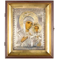 Antique Russian Orthodox Painted Metal Madonna and Child Icon, Signed and Framed