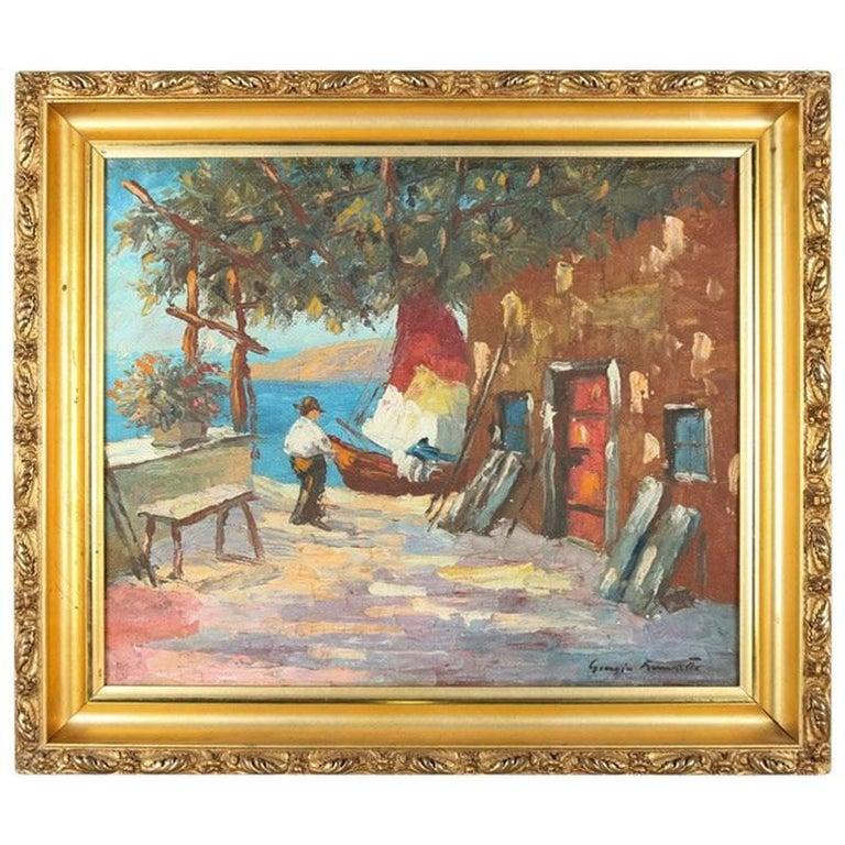 Antique Venetian Oil on Canvas Impressionist Painting of Harbor Scene, Signed