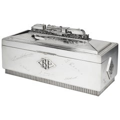 Large, Sterling Silver Locomotive Cigar Box, 1949