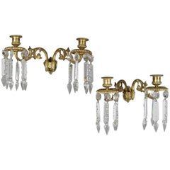 Pair of Antique French Gilt Bronze and Crystal Foliate Dual Candle Wall Sconces