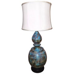 Monumental Italian Glazed Pottery Lamp