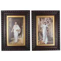 "Pair of Antique Classical Portrait Paintings on Milk Glass ""Nydia"" & ""Hope"""