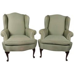 Pair of Antique Sage Queen Anne Style Upholstered Wingback Chairs, 20th Century