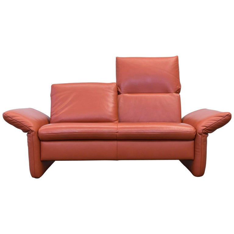 koinor designer sofa leather orange two seat function couch modern at 1stdibs. Black Bedroom Furniture Sets. Home Design Ideas