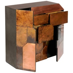 Contemporary Elementi Bar Cabinet or Chest of Drawers With Copper Patina Mosaic