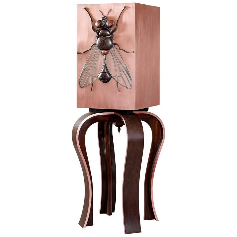 Contemporary Beelzebub Bar Cabinet in Copper Extruded Marquetry Wenge Sapele