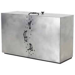 Contemporary Rovi Aluminum Bar Cabinet Or Credenza with Resin Thorn Handles