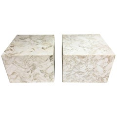 Mid-Century Modern Herringbone Marble Cube Accent Tables, 1970s