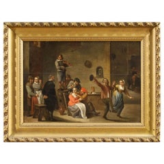 19th Century Dutch Interior Scene Painting Oil on Panel