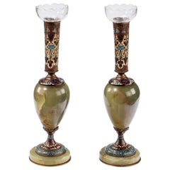 Pair of French Late 19th Century Green Onyx and Champlevé Enamel Vases