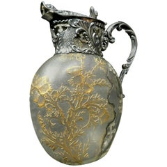 Exceptional Art Glass Wine Ewer with French Silver Mounts, France Circa 1900