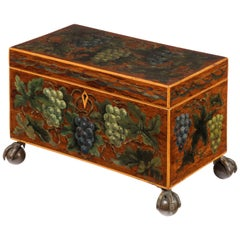 George III Period Mahogany Box Painted with Grapes and Foliage