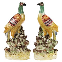 Pair of Late 19th Century Staffordshire Interpretation of Oriental Pheasants