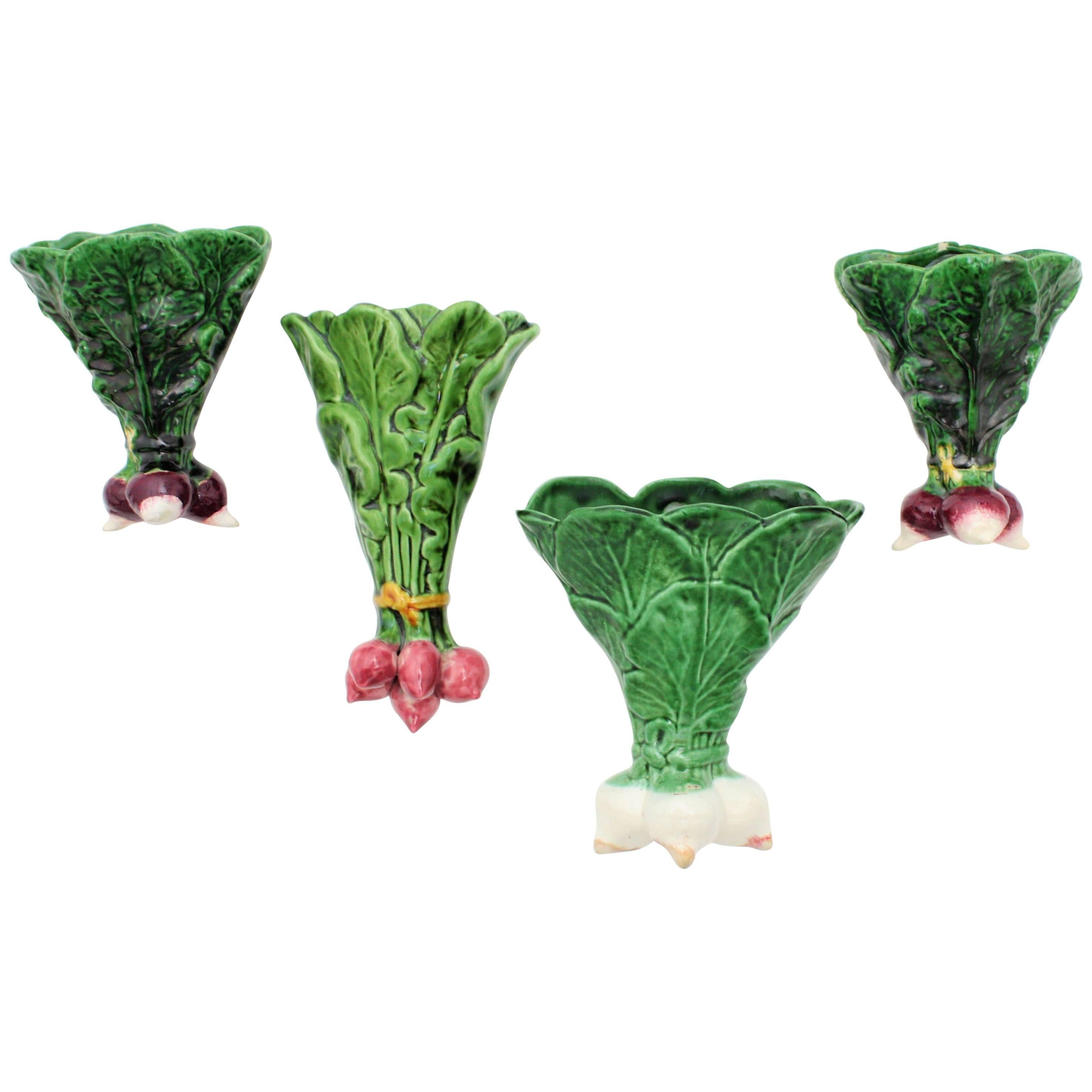 Unusual Planters For Sale Part - 32: Unusual 1950s Portuguese Majolica Vegetables Ceramic Wall Planters Set 1