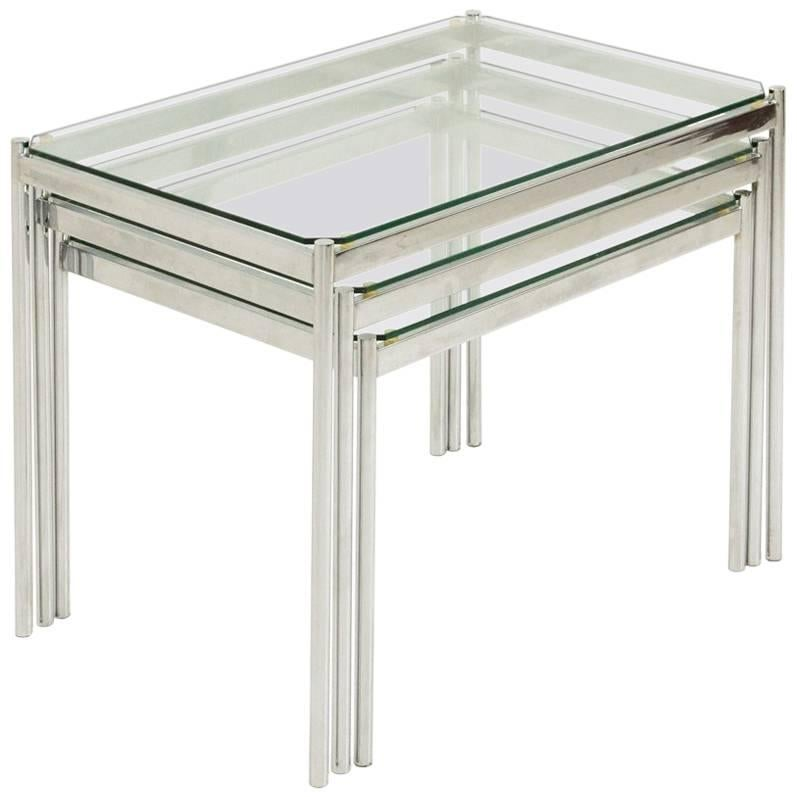 Set Of Three Italian Chromed Nesting Tables